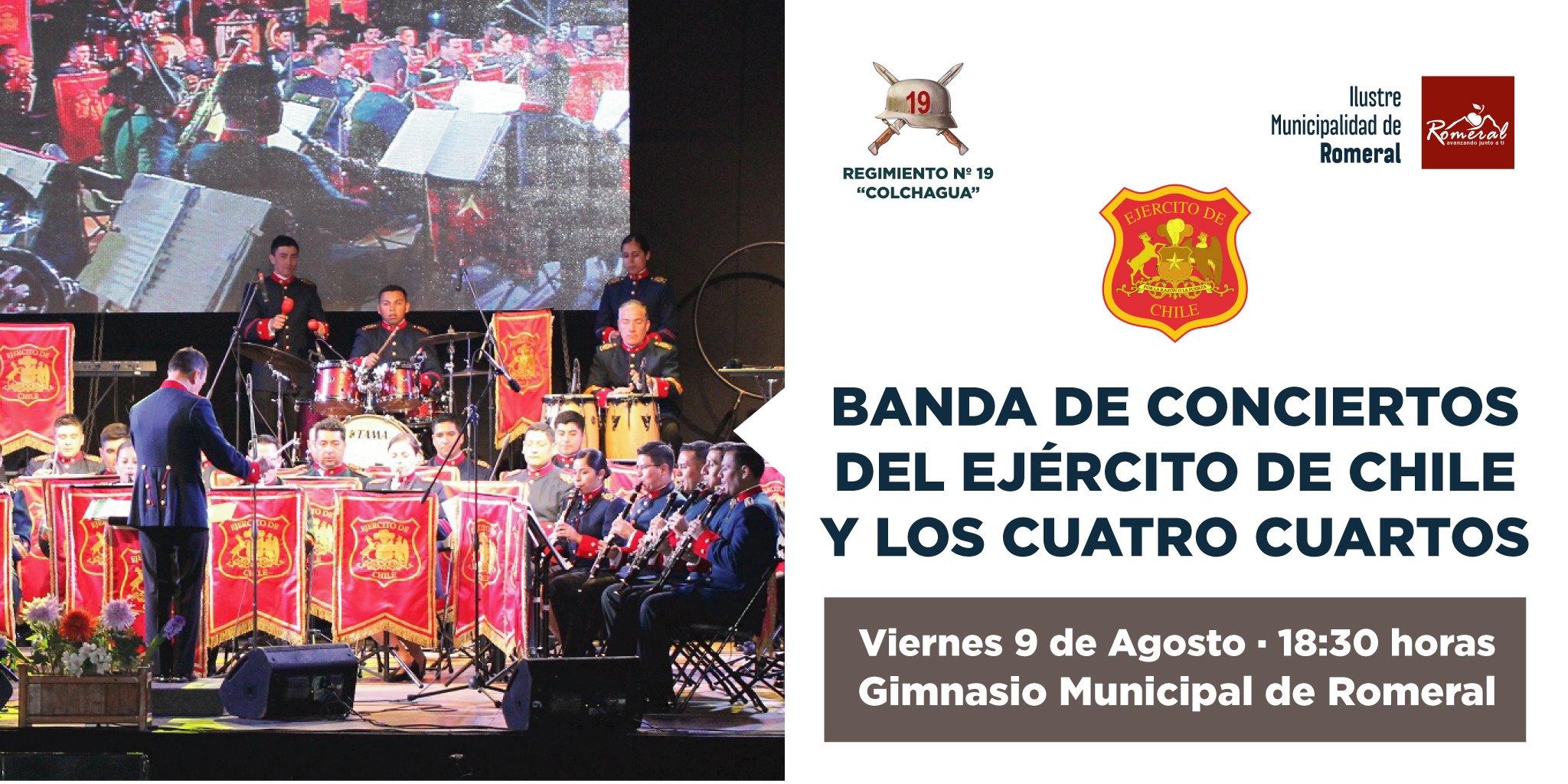 Banda de Concierto del Ejercito de Chile junto a Los Cuatro ...