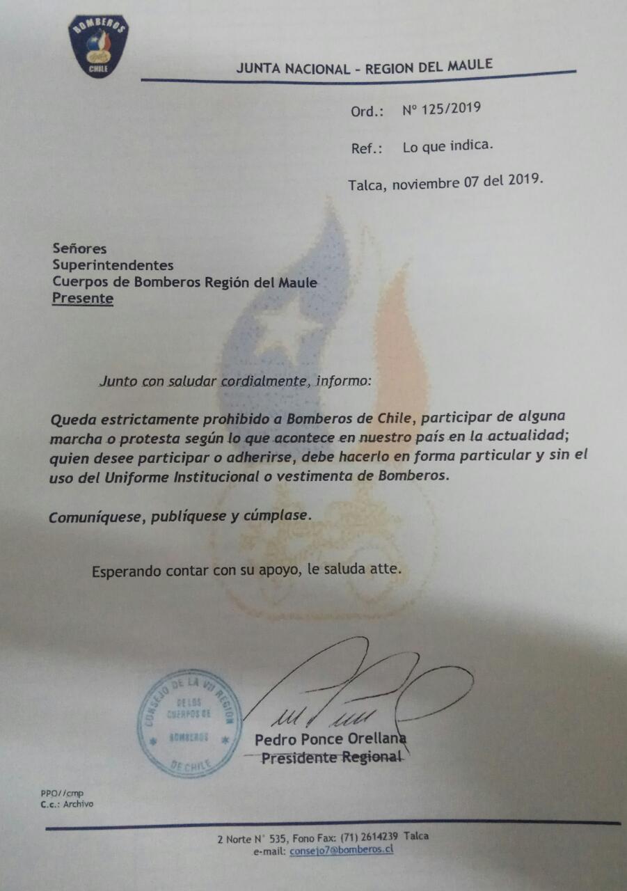 Prohíben a Bomberos de Talca participar en manifestaciones con uniforme - Maulee.cl Diario electrónico de la Región del Maule